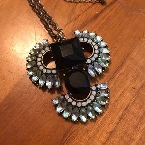 Art Deco Sparkly Pendant Long Necklace
